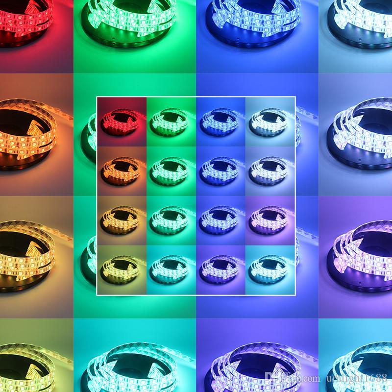Umlight1688 5M SMD 5050 RGB 방수 300 LED 스트립 + IR 원격 + 12V 5A 전력 DHL 배