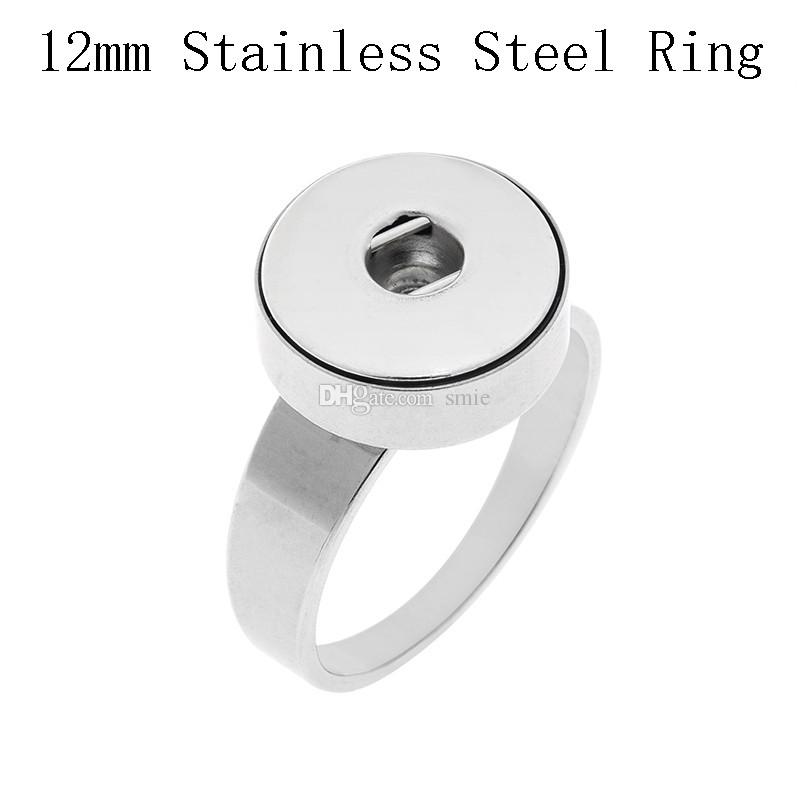 Noosa chunk stainlesss steel 12mm 18mm snap button ring size 7-10 rings for button ginger snap charm jewelry