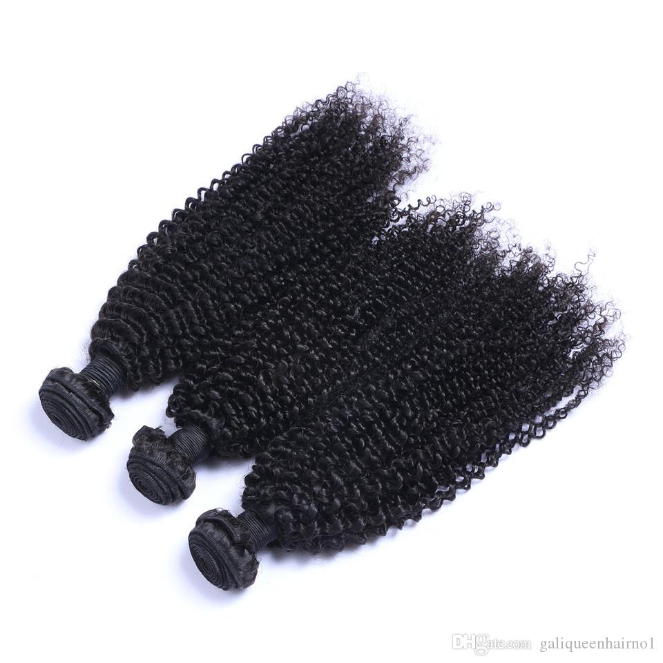 Unprocessed Brazilian Human Remy Virgin Hair Kinky Curly Hair Weaves Hair Extensions Natural Color 100g/bundle Double Wefts 3Bundles