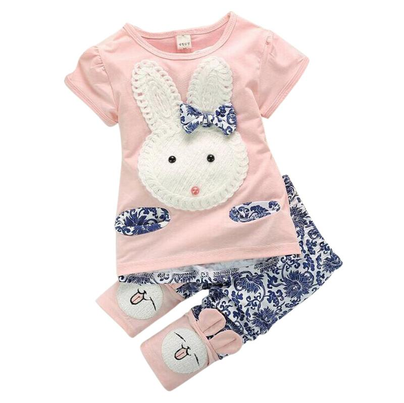 60004c2a02a 2019 Wholesale Baby Kids Girls Top+Short Pants Summer Suits Cute Rabbit  Cartoon Children S Clothing Set From Henryk