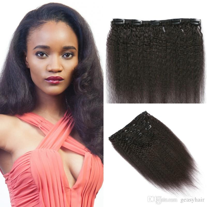 Clip In Hair Extensions Virgin Mongolian Kinky Straight Clip On