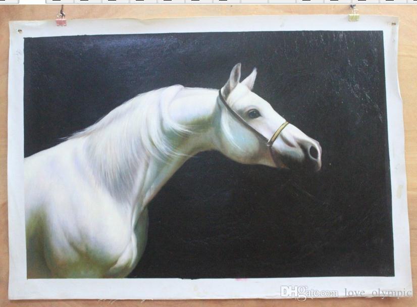Compre Enmarcado Hermoso Caballo Blanco, Pintura Al Óleo Animal Puro ...