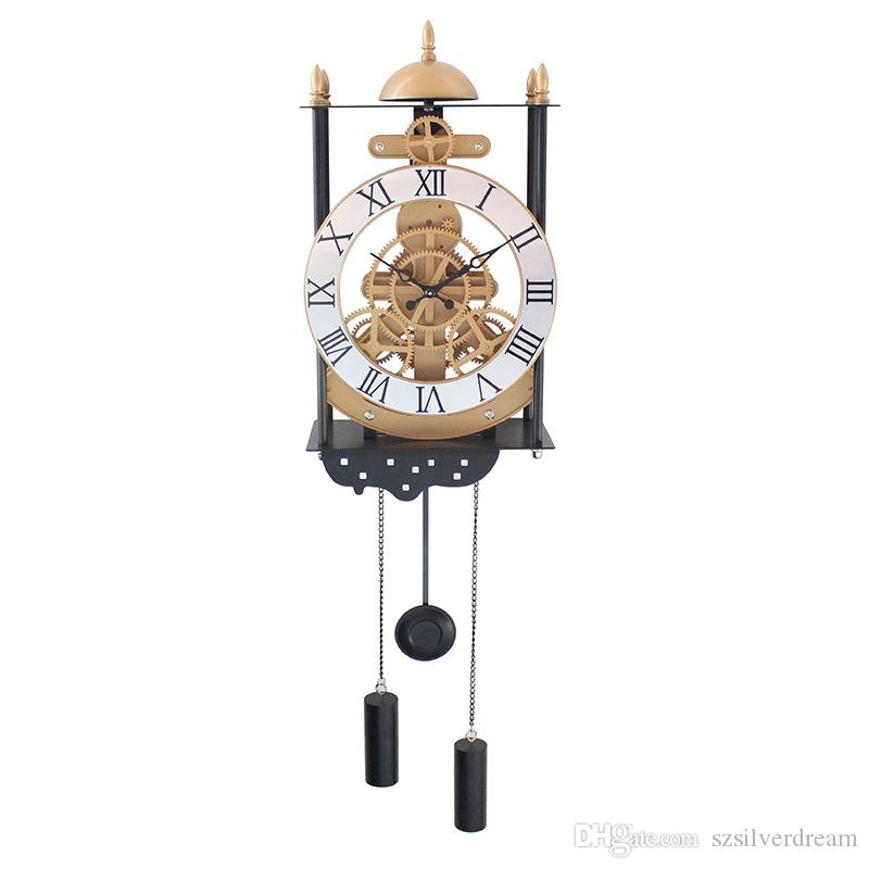 Bird Cage Model Gear Pendulum Clock Fashion Creative