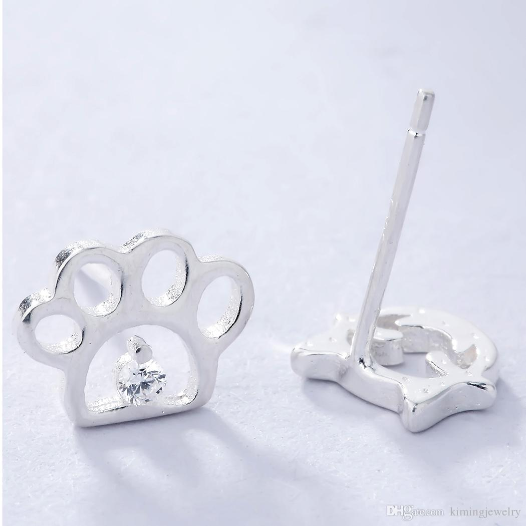 925 Sterling Silver Jewelry Women Small Cute Dog Cat Paw Asymmetric Stud Earrings Crystal Anti Allergy Charm Brincos