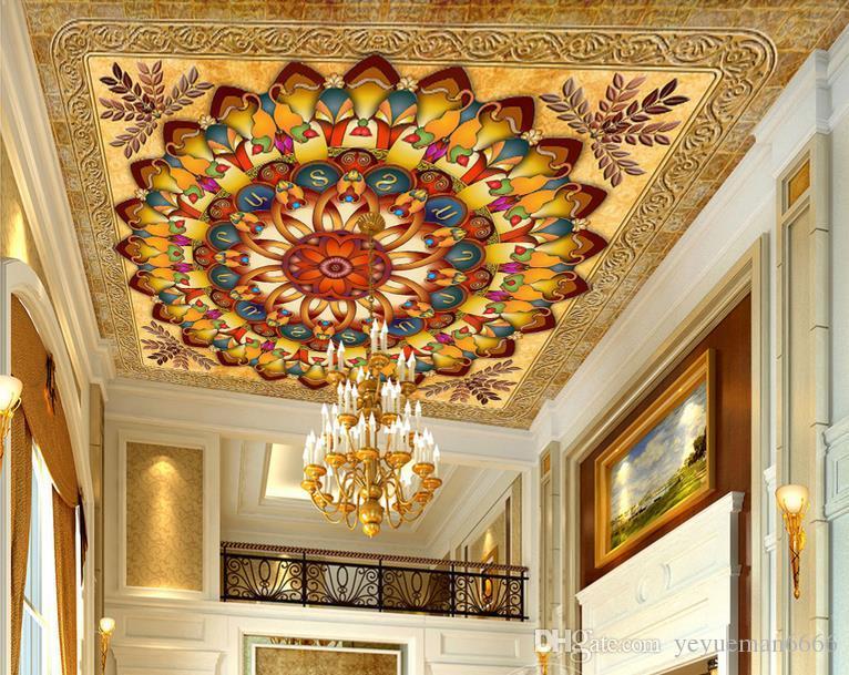 пользовательские 3D потолок богатый желтый круг листья имя семьи шаблон 3d обои для потолков обои для гостиной 3D потолок