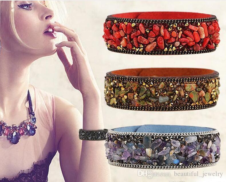 2018 뜨거운 판매 높은 품질 자갈 팔찌 자연 크리스탈 팔찌 여러 가지 빛깔의 돌 가죽 팔찌 파리 패션 모델보기 쥬얼리