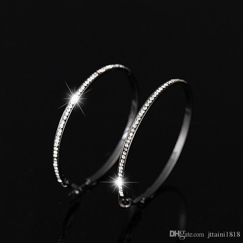 2017 TOP boucles d'oreilles populaires avec strass cercle Boucles d'oreilles simples big circle couleur or hoop boucles d'oreilles pour femmes E005