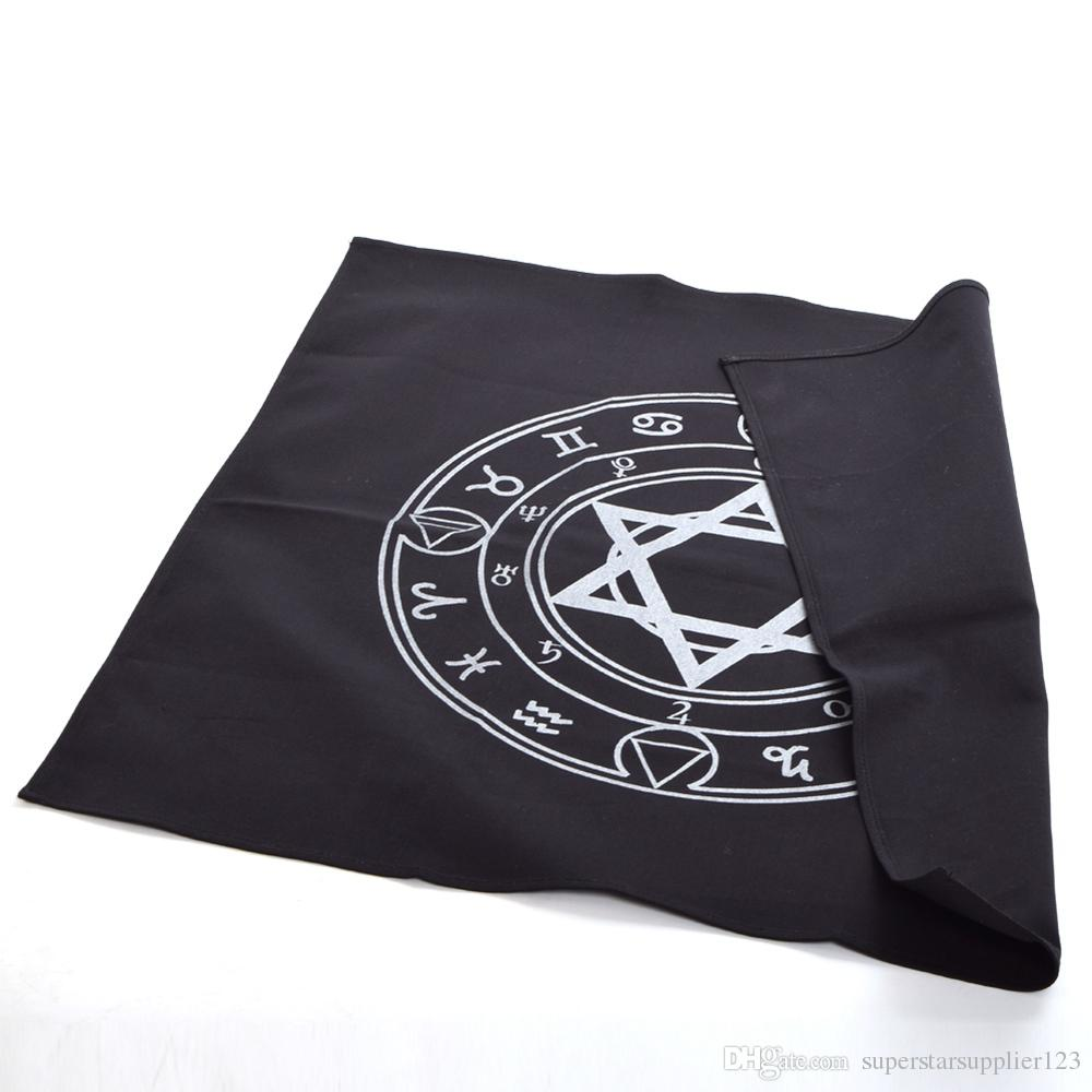 70 * 70cm nero dell'annata Altare Tarocco Tovaglia Retro Esagramma modello Tappeti Wicca Deco domestico Halloween Cosplay accessori