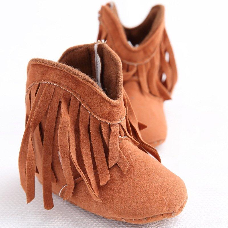 8db32b245c3d 2019 Wholesale Newborn Baby Girl Kids Moccasin Moccs Solid Fringe Shoes  Infant Toddler Soft Soled Anti Slip Boots Hot 0 18M From Jamani3