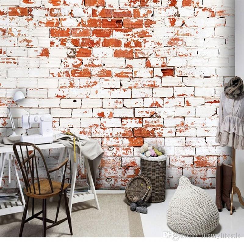 3d Stereo Custom Retro Pattern White Brick Wallpaper Cafe Bar
