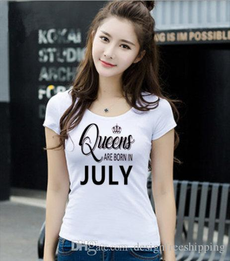 2017 New Summer Sleeves Casual 100% cotone Top Quality Top O-Neck a maniche corte Queens nascono in giugno luglio T Shirt per le donne