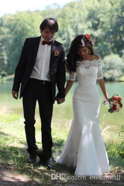Off-épaule dentelle sirène Robes de mariée 2019 Illusion cou manches mi-longues Robes de mariée plage Boho Custom Made robe de mariée Robes De Novia