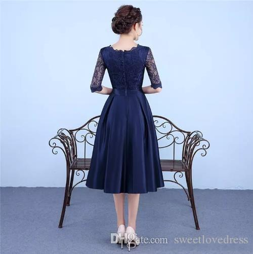 2017 New Arrival Evening Dress Jewel Poet 1/2 Sleeve Back Zipper Tea-Length Prom Cocktail Party Dresses