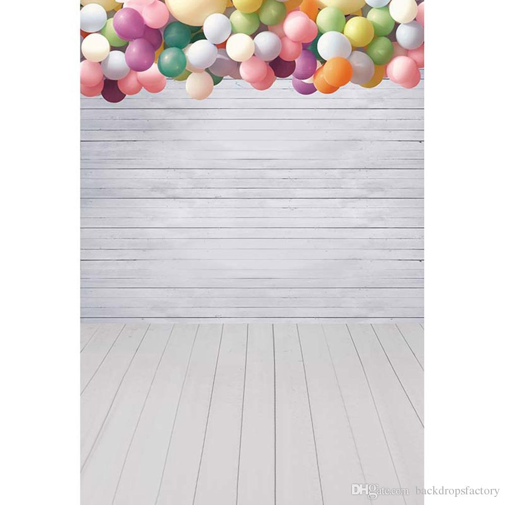 white wooden wall backdrop photography colorful balloons children