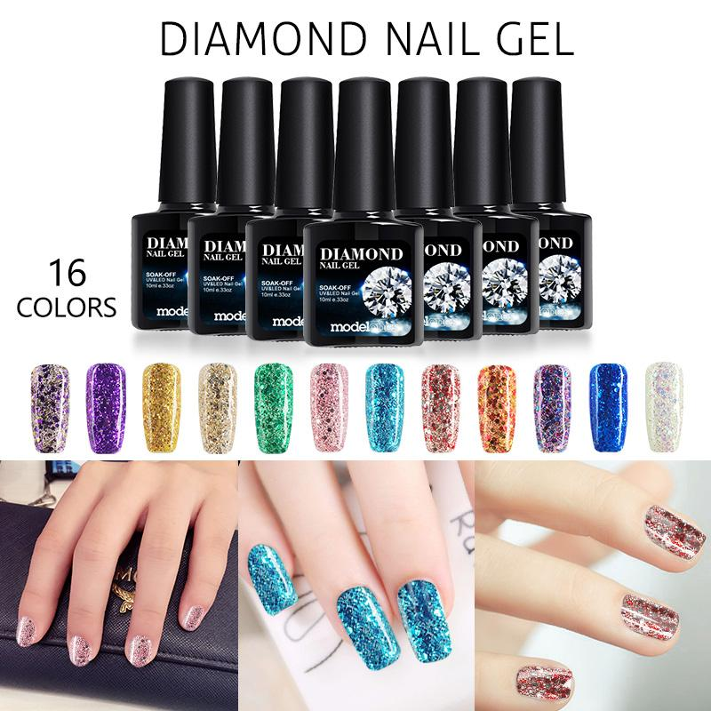 Wholesale Modelones Newest Fashion Glitter Gel Nail Polish 10ml Uv ...