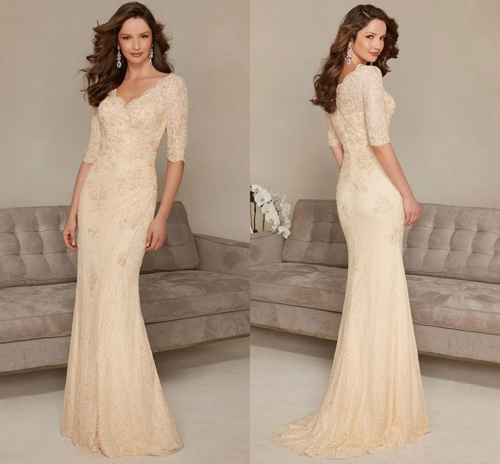 Glamorous Long Column Mother Bride Dresses Lace Beaded Floor Length ...