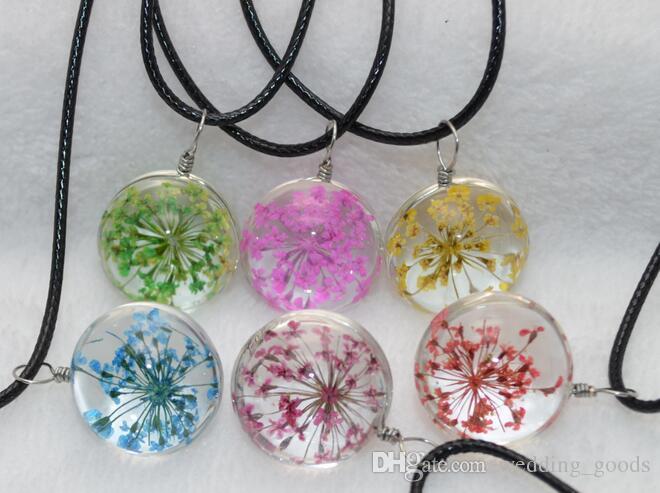 Совершенно новые взрывные растения ручной работы сухоцветы ожерелье кружево цветок стеклянный шарик кулон WFN315 с цепочкой заказ смешивания 20 штук много