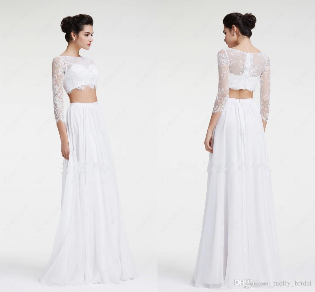 discount 2017 sexy white beach wedding dresses lace chiffon two