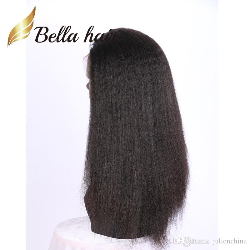 Rizado recto peluca llena del cordón indio de la Virgen luz del pelo humano Yaki peluca delantera del cordón peluche pelucas de pelo color negro Bella pelo