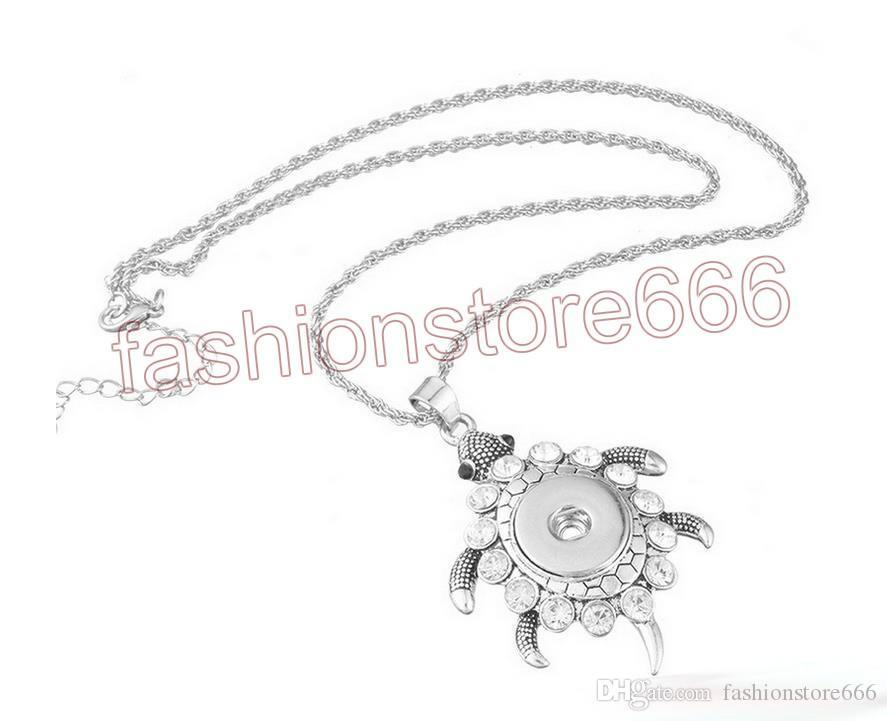 Нуса Оснастки кнопка Черепаха ожерелье с горный хрусталь Fit 18 мм 20 мм Нуса куски имбирь Оснастки кнопки ювелирные изделия подарок для женщин