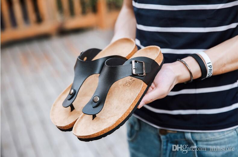 312b814dc6387 2017 Summer Style Men Fashion Flats Slippers Lovers Cork Beach Sandals High  Quality Flip Flops Black Cork Sandals Beach Slipper Cheap Sandals Online  with ...