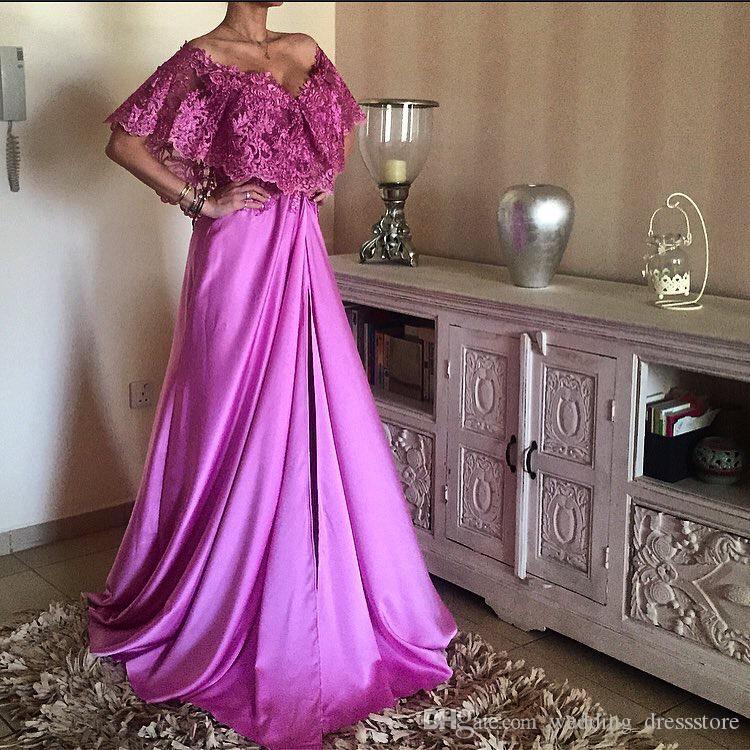 Expédition rapide une ligne col en V de l'épaule en dentelle haut dos bas rose chaud 2017 satin robes de soirée longues abendkleider