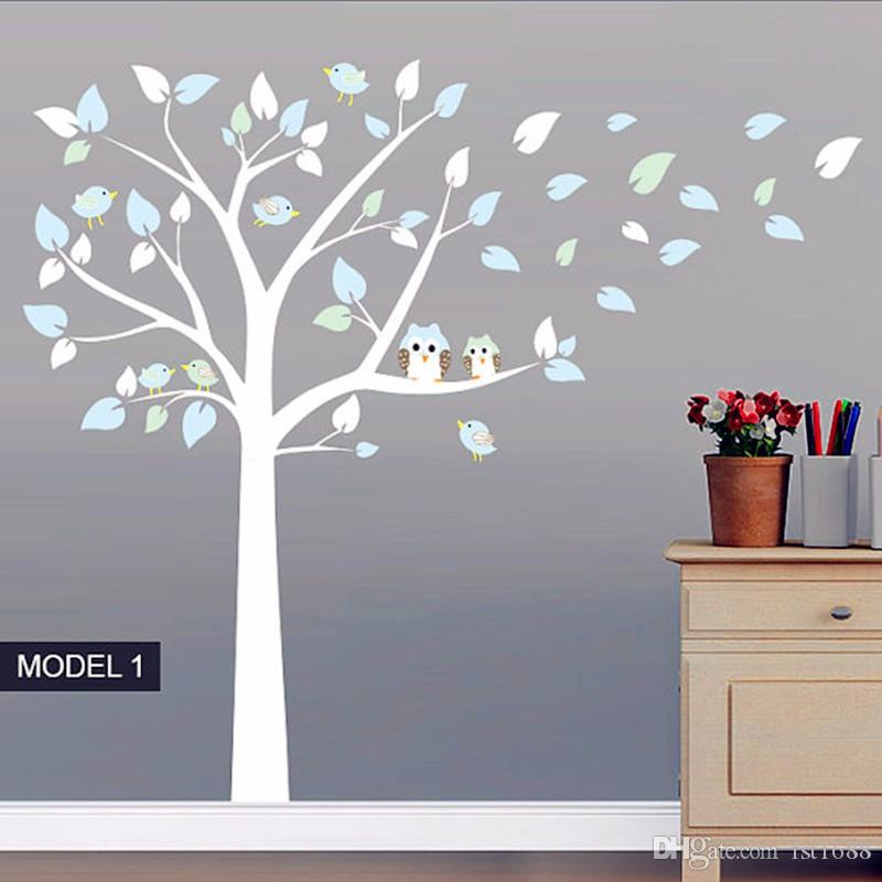 Owl Standing Huge Large Tree Wall Sticker Baby Nursery Bedroom Wall Decals Art Decor Owl And Birds Tree Branches Decals