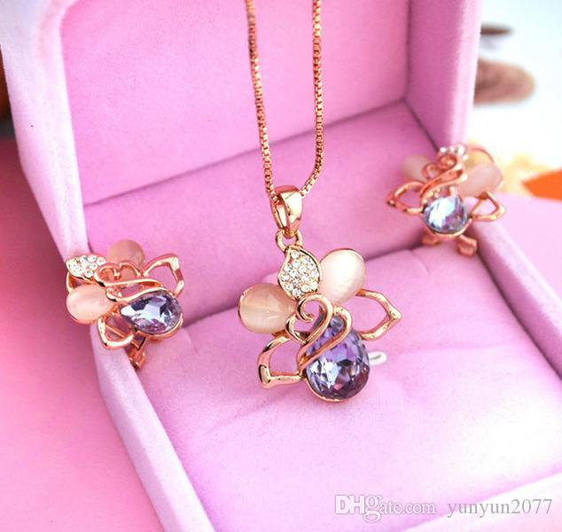 Fine Bridal Wedding Accessories Jewelry sets Noble Opal Crystal Rose Water Drop Chokers Necklaces Clavicle Chains Stud Earrings For Women