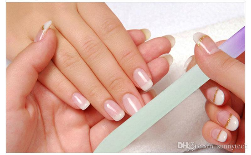 5,5 '' / 14cm Qualité de la marque Durable Cristal Verre Fichier Tampon Nail Art Fichiers Multicolor pour Manucure UV Polish Tool Fichier Nail ZA1480