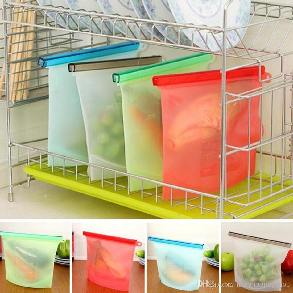 Reusable Silicone Food Fresh Bags Wraps Fridge Food Storage Containers Refrigerator Bag Kitchen Colored Zip Bags OOA2986