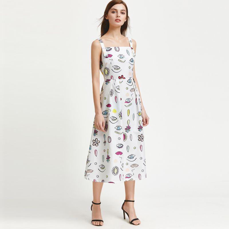 53a2c0e25a Compre Vestido Largo Estampado De Moda Para Mujer Delgada Sin Mangas Una  Línea Plisada Vestidos De Verano Vestido Casual Ladies Office Trabajo  Vestidos ...