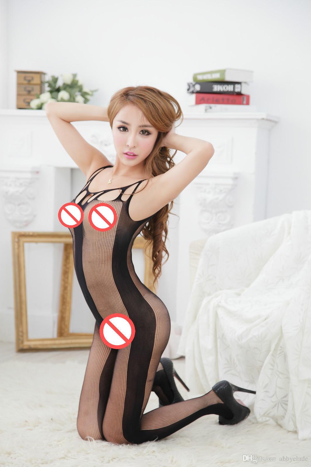 Sexy Sheer Mesh Bielizna Round Neck Hollow Out Bodystockings Crotchless Bez Rękawów Body Body Pończochy Bielizna Otwórz Body Crotch Body