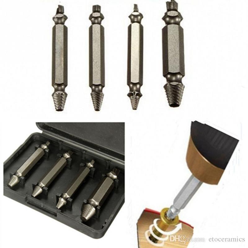 4 stks / set Schroef Extractor Drill Guide Set Gebroken Schroefbouten Snelle Easy Out Hout Bolt Stud Remover Tool Kit met een plastic doos