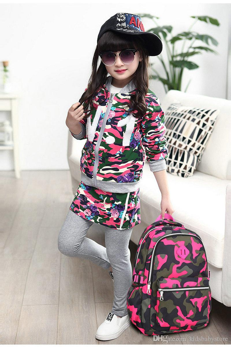 Mode Camouflage Enfants Voyage Sac À Dos École Sac À Dos Cartable Ordinateur Sac Épaules Sac Pour Garçons Filles Enfants