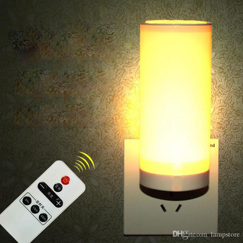 Led Remote Control Night Light Wholesale Bedroom Wall Lamp Bedside Lamp Creative Light Feeding Light Plug Small Lamp Socket Lights