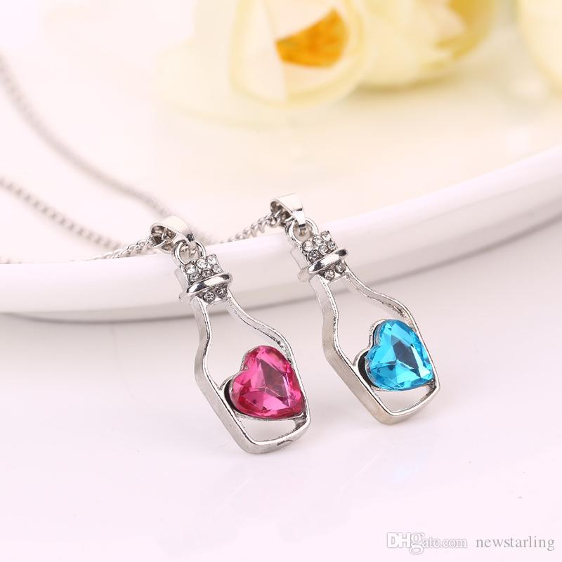Fine Girls' Austrian Crystal Wishing Drifting Bottle Necklace Sparkle gem Love Heart Shaped Pendant Clavicle Chain Fasion Jewelry For Women