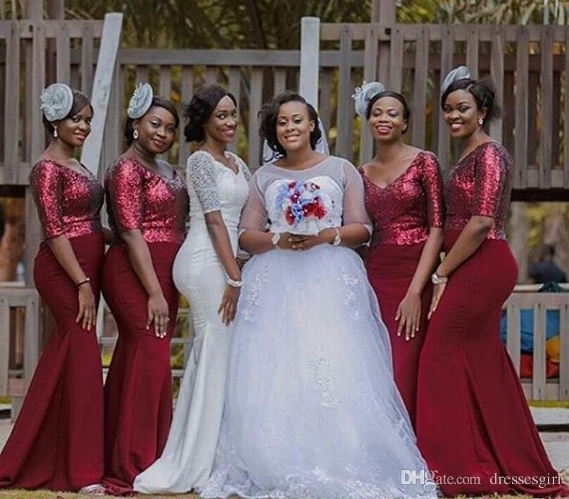 Arabic Style Deep V Neck Long Bridesmaid Dresses New Half Sleeve Bling Sequined Bodice Elegant Mermaid Wedding Party Dresses