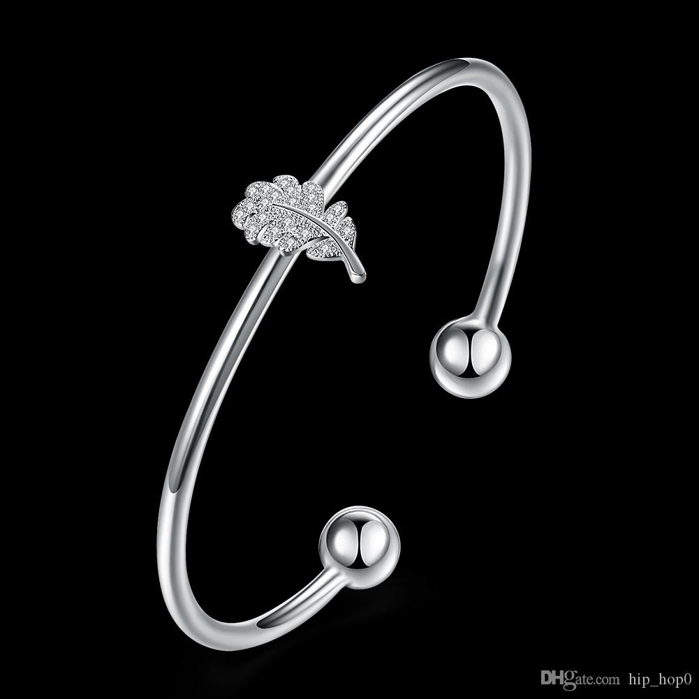 Women Silver Bracelet Leaf Shaped Inlaid CZ Zircon Cuff Opened Bracelet 925 Silver Plated Austrian Crystal Jewelry Beautiful Smooth Bangle