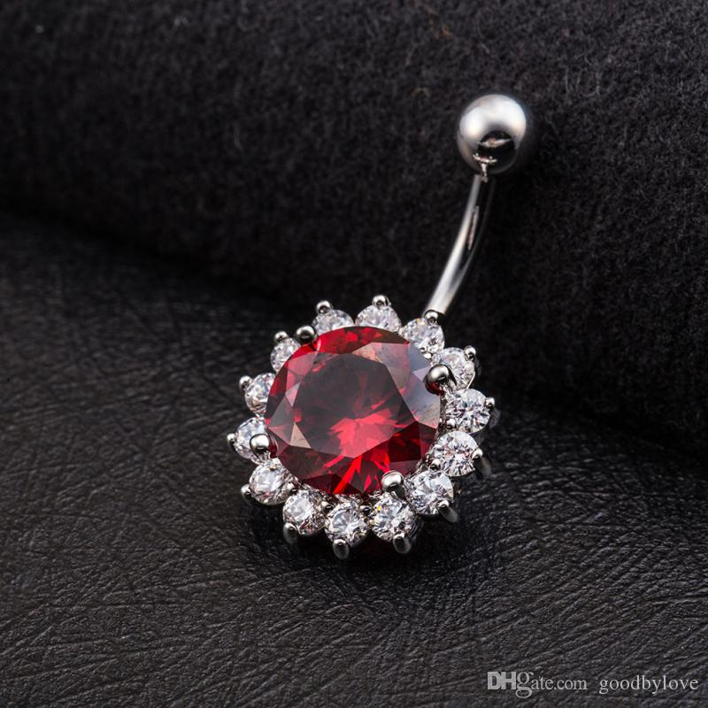 Big Round Pink/Red/White Zircon Clear Crystal Cluster Flowers White Gold Color Sexy Body Jewelry Piercing Navel Ring for Women