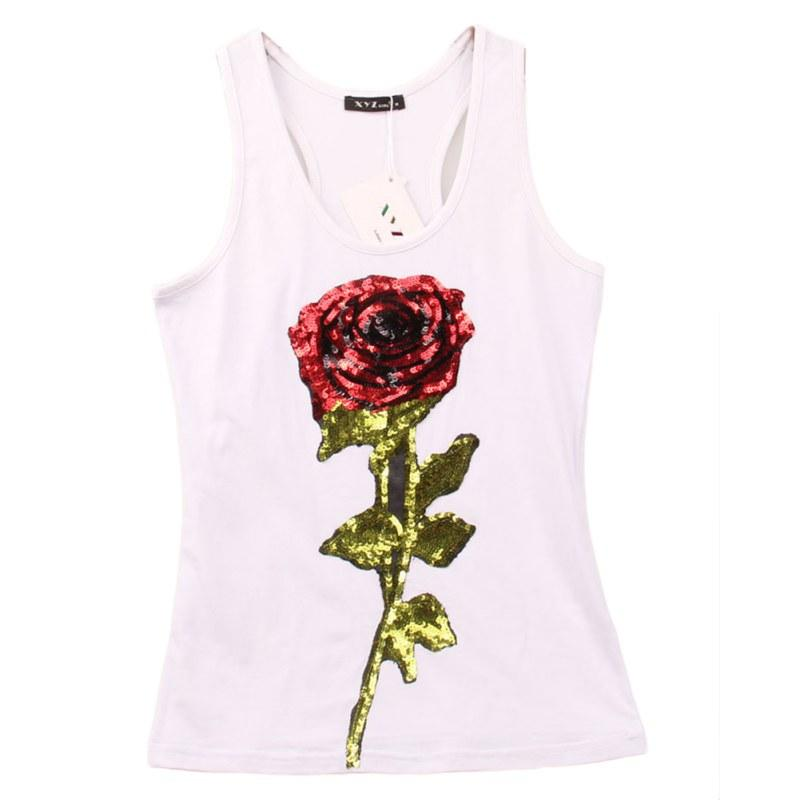 bdd66dc613881 Wholesale Summer Style Tank Shirts Women Rose Sequins Sequined Vest  Camisole Women Tops Fashion Racer Back Tops Hot Tourist Shirts Of T Shirt  From Ppkk