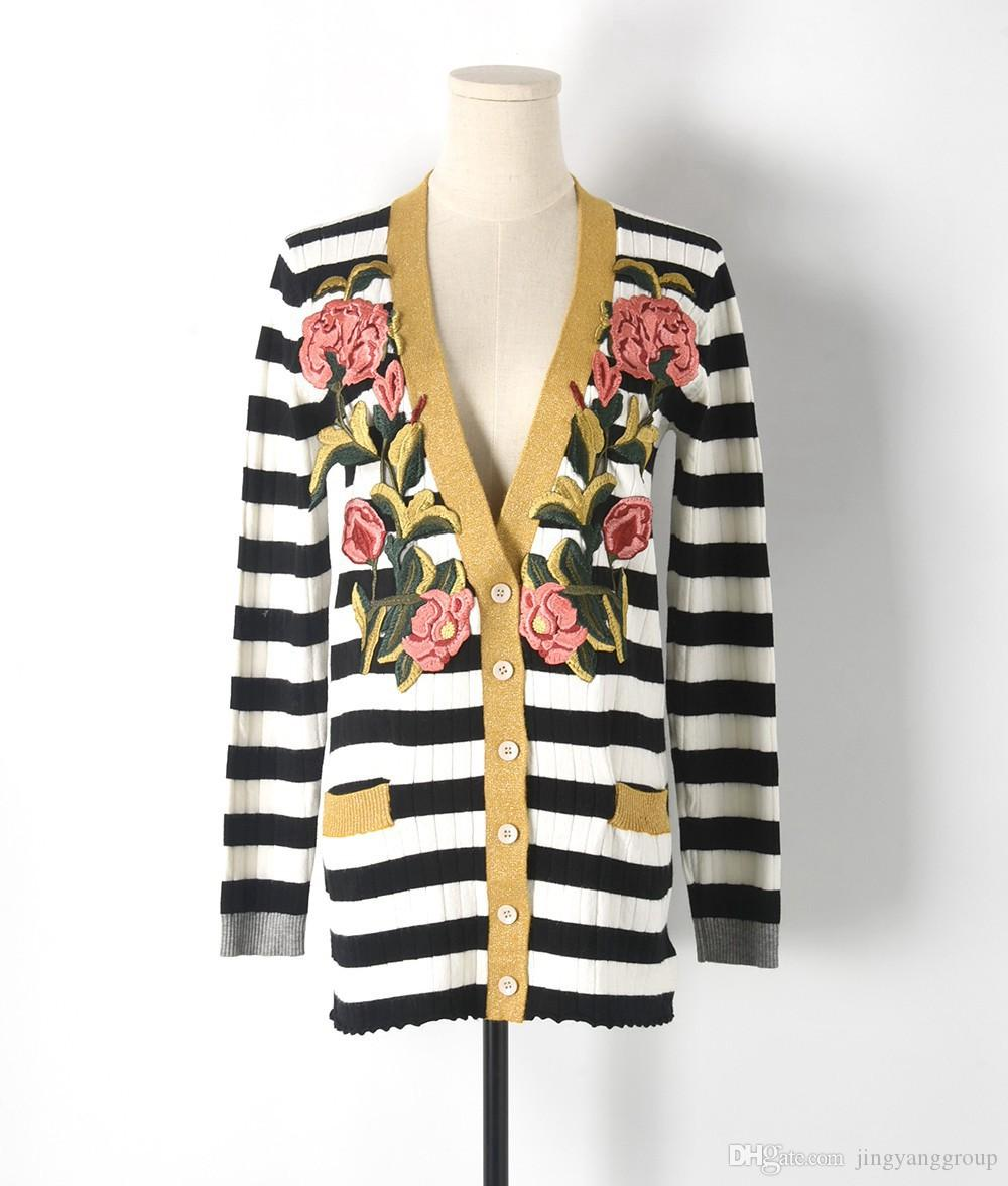 Cardigan for Women Sweater 2017 Runway Design Flower Embroidery ...