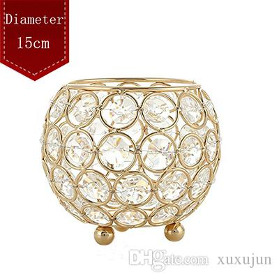 Gold/Silver Metal Candle Holder Stand Crystal Table Candelabras Centerpiece 15cm Ball Romantic Candlelight For Wedding Decoratio
