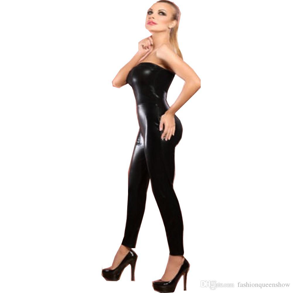 Женская бретелек Комбинезон Sexy Тощий Комбинезон Clubwear Black Wet Look Тонкий Bodysuit Ночной Pole Dance одежда