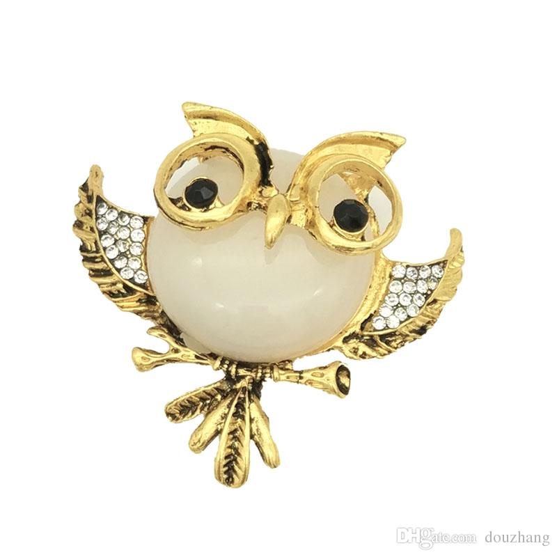 Vintage Rhinestone Acrylic Gem Bird Owls Brooches Antiques Owl Hijab Pin Up Wedded Broach Scarf Clips Jewelry
