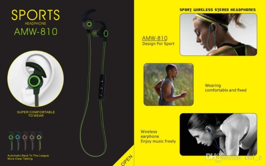 AMW-810 Earphone Bluetooth Sport Earhook Earbuds Stereo Over-Ear Wireless Neckband Headset Headphone with Mic for iphone samsung