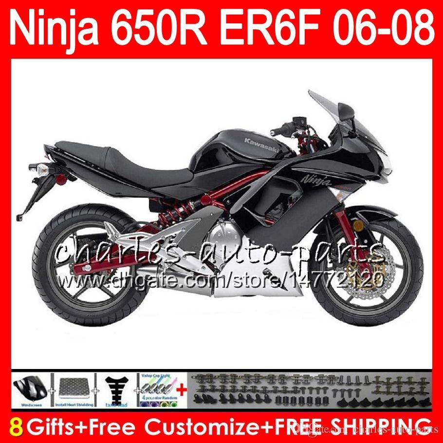 8Gifts Body For KAWASAKI NINJA 650R ER6F 06 07 08 Ninja650R gloss black 20NO74 ER 6F 06-08 ER6 F ER-6F 2006 2007 2008 Fairing Kit