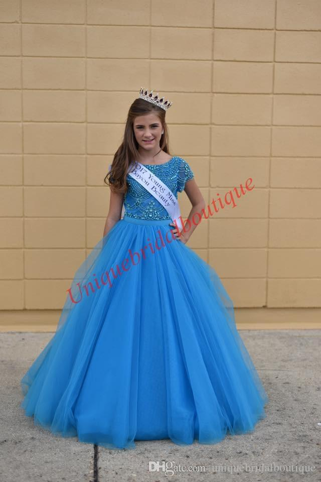 Famous Designer Little Girl Toddler Infant Baby Pageant Dresses 2019 Cap Sleeves Major Beading Tulle Long Cute Kids Birthday Party Gown