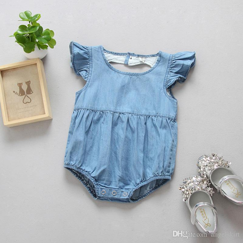 ad7d8d1cc9d2 2019 2017 Hight Quality Children S Wear Kids Washed Denim Baby Romper Heart  Shape Back Toddler Baby Clothes Romper Girl From Angelskirt