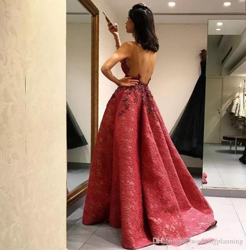 Nowe Dark Red Full Lace Aplikacje 2017 Suknie wieczorowe Formalne Backless Prom Suknie Celebrity Sukienka z Sweep Pociąg Darmowa Wysyłka