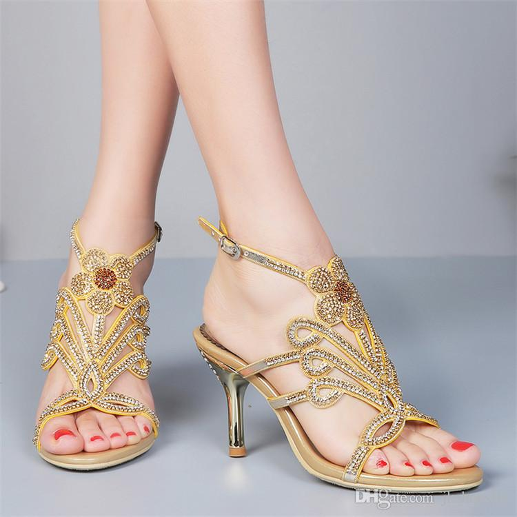 Brand New Fashion Women's High Heel Sandals Rhinestone Decorated Summer Shoes Diamond Lady's Plus Size Euro 34~44 Party Wedding Shoes
